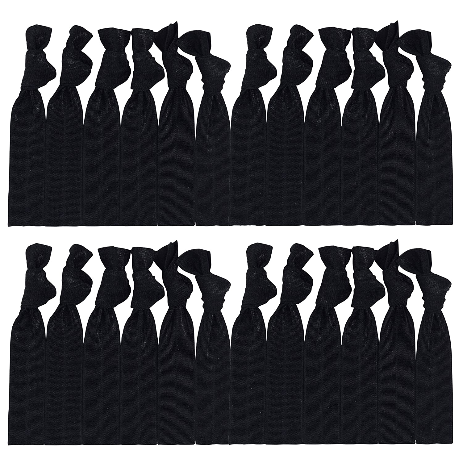 Cyndibands Black Hair Ties No-Snag Knotted Ponytail Holders/Bracelets - 25 Count