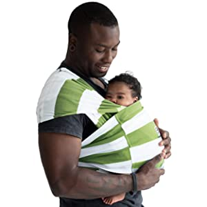 Baby K'tan Print Baby Wrap Carrier, Infant and Child Sling-Olive Stripe, Women 22-24 (X-Large), Men 47-52 Newborn up to 35 Pound Best for Babywearing.