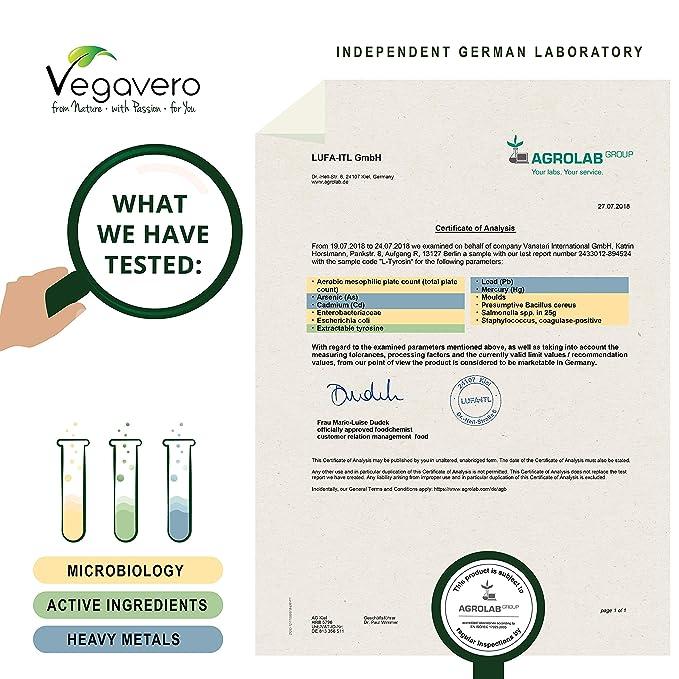 L-Tirosina Vegavero® 99.6% PURA | Origen Vegetal, NO SINTÉTICO | 120 Cápsulas | Testado en Laboratorio | Aminoácidos | Bienestar + Descanso + Estado ...