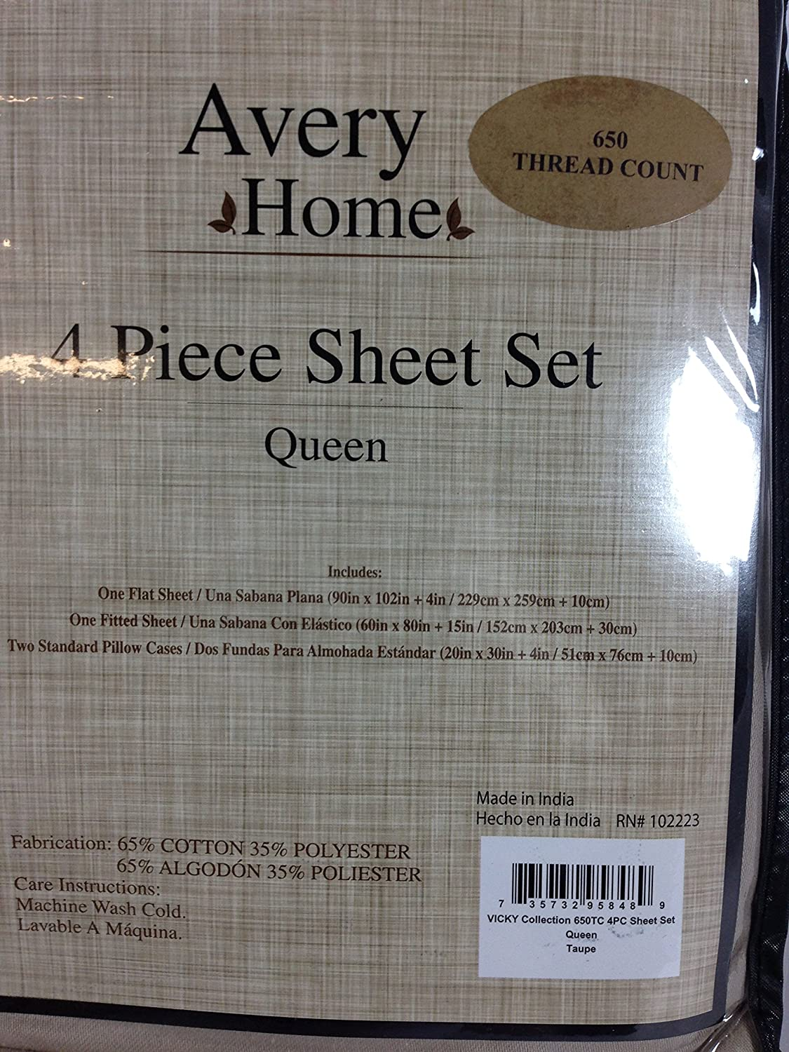 Victoria Classics VKY-STS-QUEN-EL-TA Vicky Collection 650TC 4PC Sheet Set-Queen-Taupe
