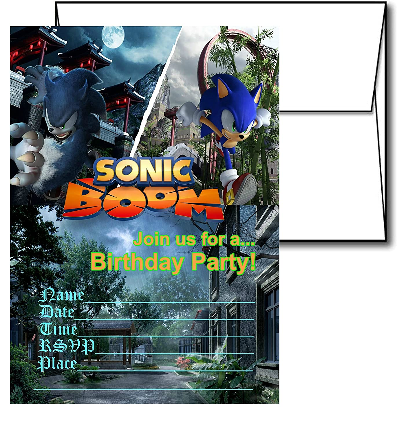 12 Sonic The Hedgehog Birthday Invitation Cards 12 White Envelops Included