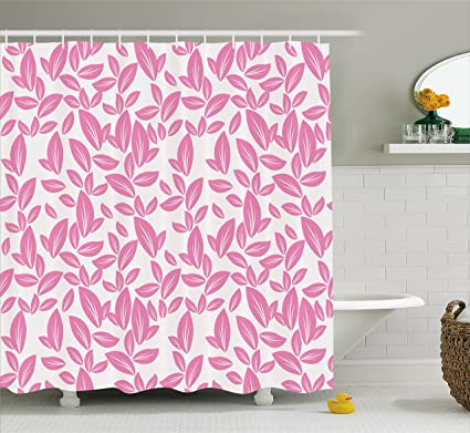 Ambesonne Floral Shower Curtain Big Pink Flower Leaves On White Background Rose Petals Spring Nature