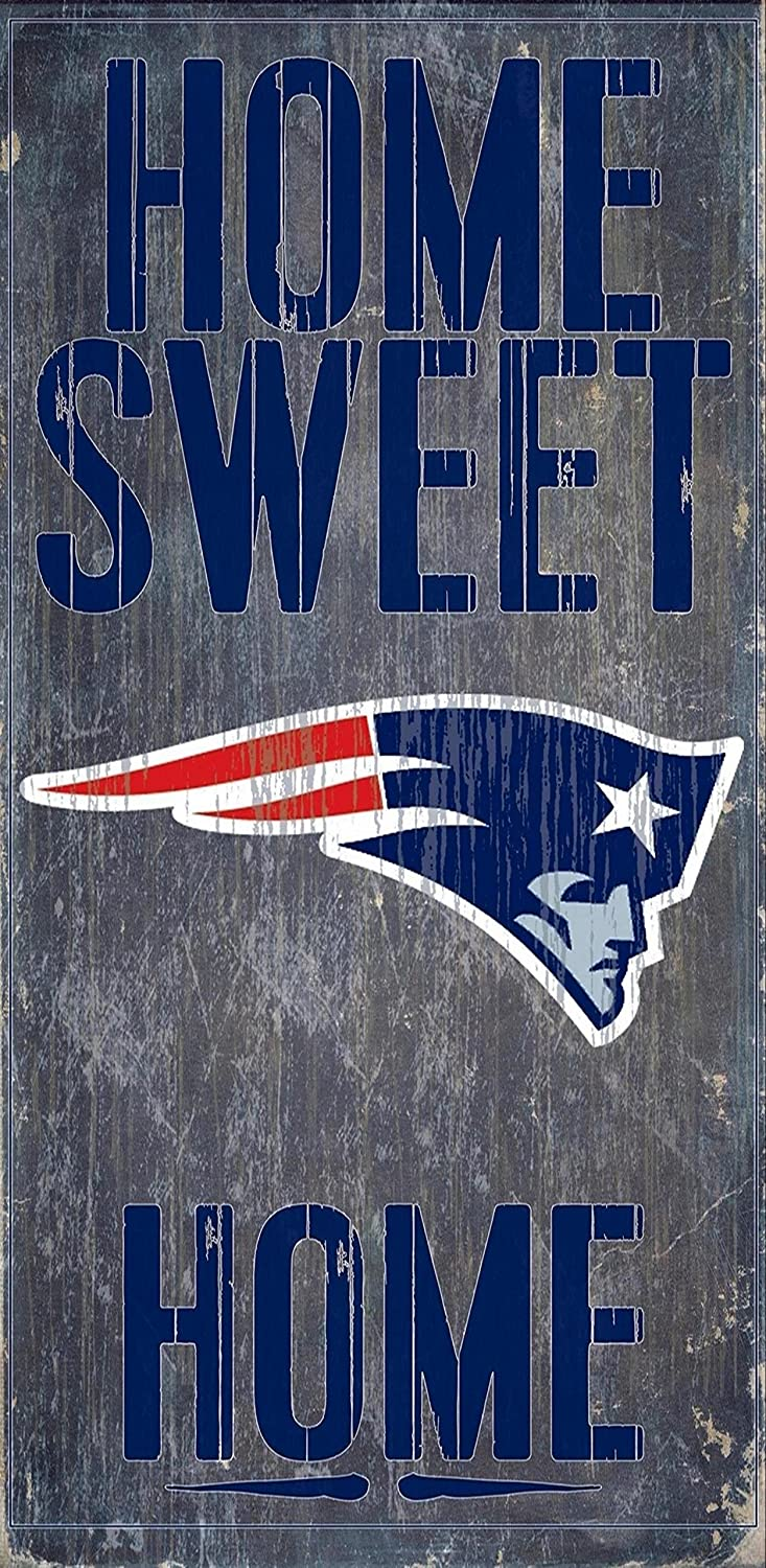 Fan Creations New England Patriots Official NFL 14.5 inch x 9.5 inch Wood Sign Home Sweet Home 048470