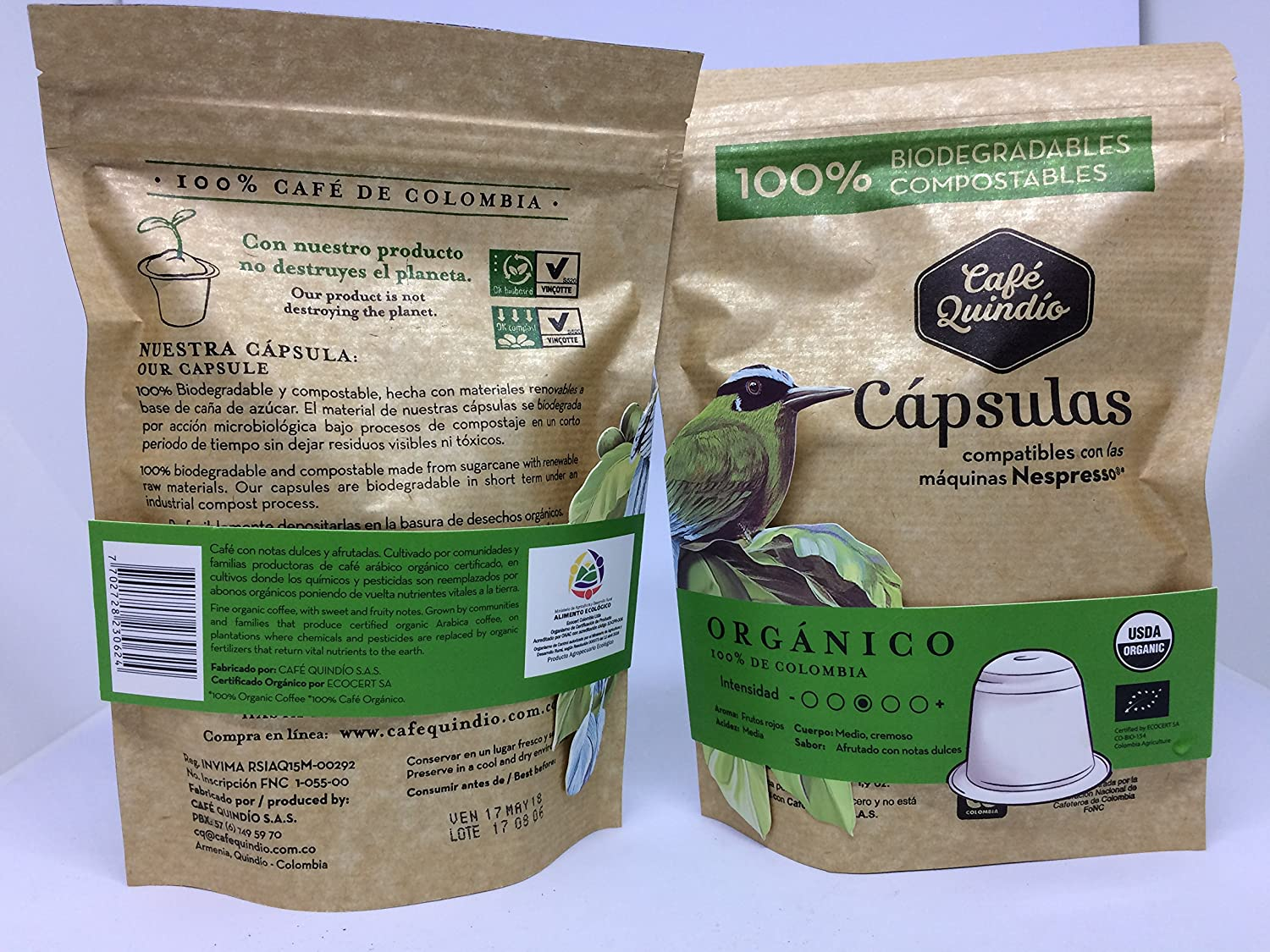 ORGANIC Coffee Capsules, Coffee Quindio, Nespresso (Compatible),100% Colombian Coffee,Medium Roast Organic Coffee: Amazon.com: Grocery & Gourmet Food