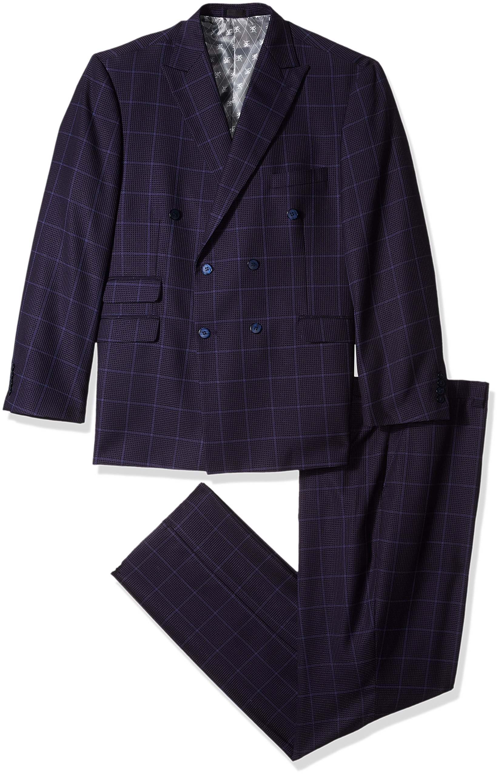 Stacy Adams Men's Big and Tall Sam Double Breasted Suit Mini Check, Purple, 56 Regular
