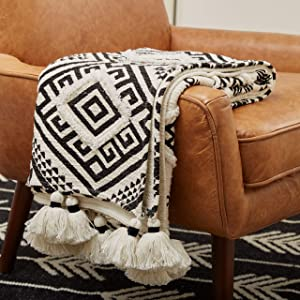 Rivet High Contrast Black and White Global Geometric 100% Cotton Throw Blanket