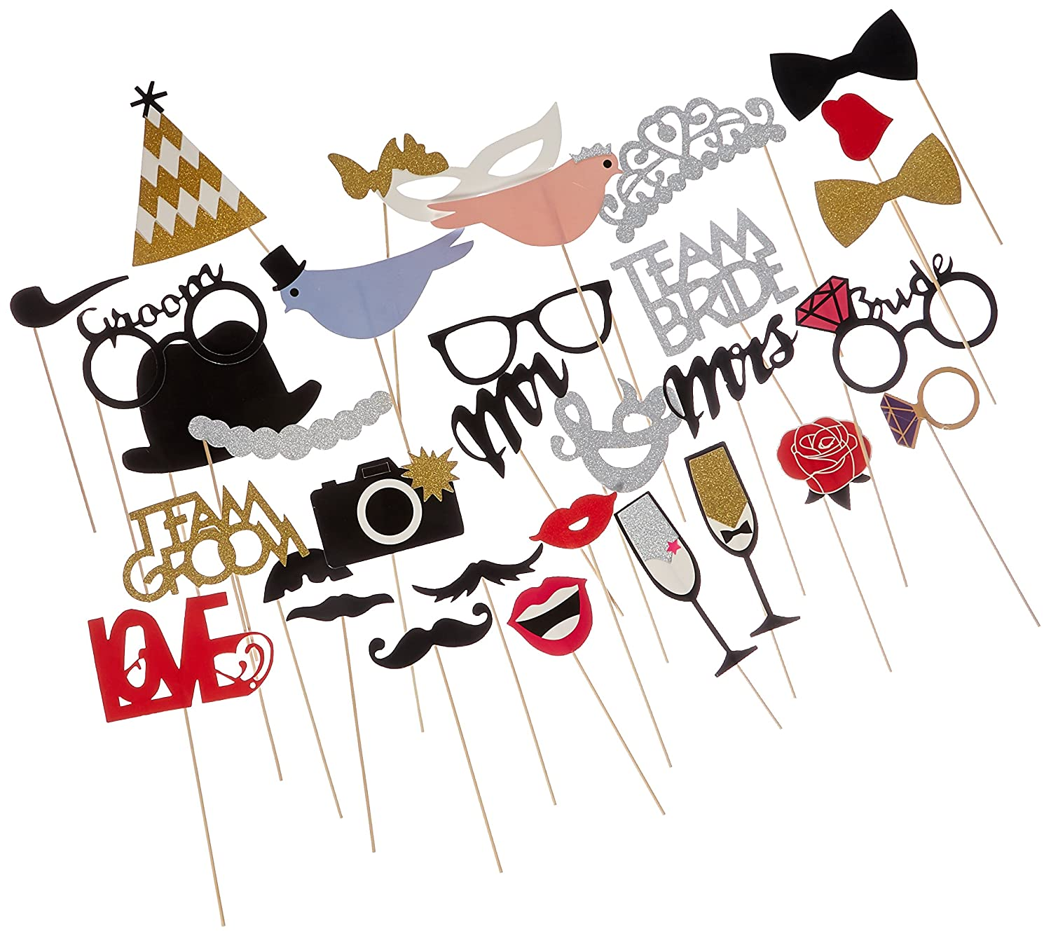 Amazon.com: 31-pieces Photo Booth Props For Wedding Party, Bridal ...