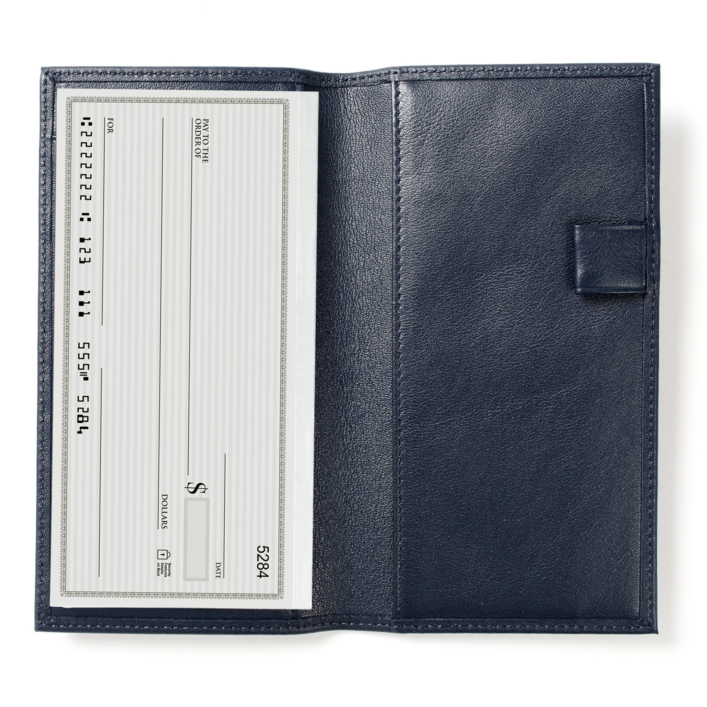 Deluxe Checkbook Cover with Divider - Full Grain Leather - Navy (blue)