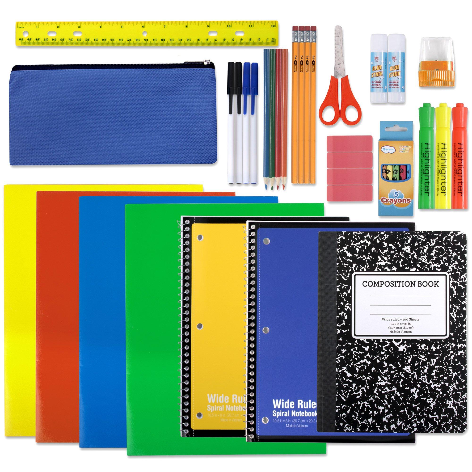 School Supply Kit: Folder Subject Spiral Notebook Composition Book Colored Pencil Pouch Ruler Pen Blunt Tip Scissor Eraser Glue Stick Crayon Sharpener Highlighter | K-8 Elementary Grade (24 Piece)
