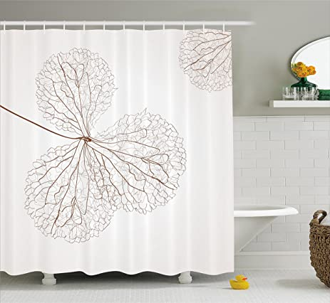 Flower Decor Shower Curtain By Ambesonne, Abstract Cotton Floral Design  With Veins Natural Botanic Plants