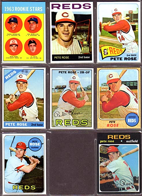 Pete Rose 8 Card Topps Baseball Reprint Lot Includes 1963 Rookie