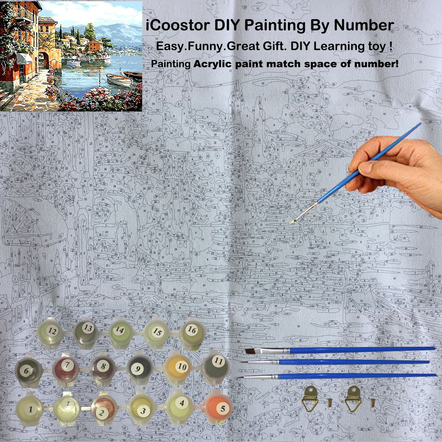 Amazon.com: Paint by Numbers DIY Acrylic Painting Kit for Kids ...