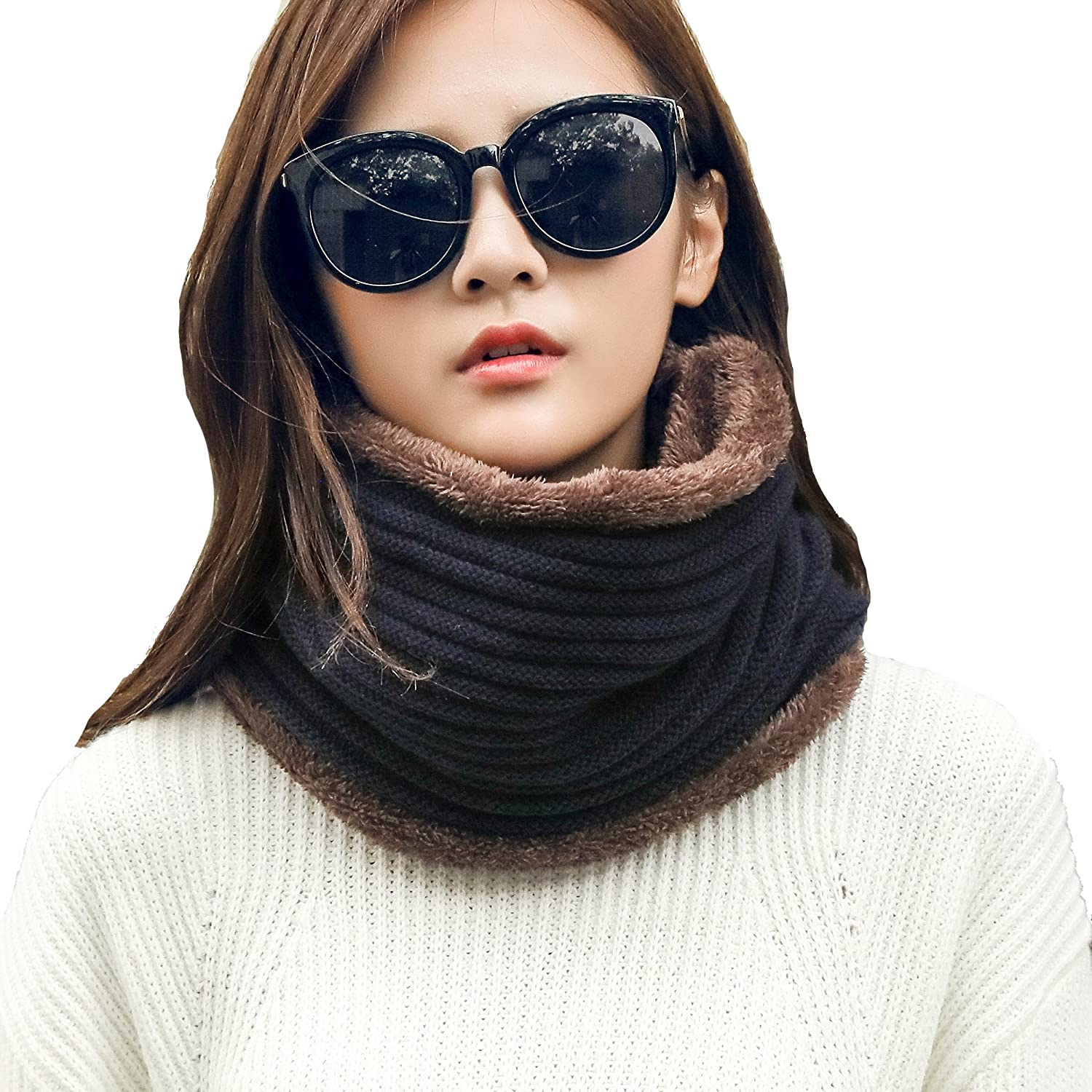 Leories Winter Neck Warmer Fleece Lined Infinity Scarf Thicken Windproof Scarf Face Mask for Women and Men