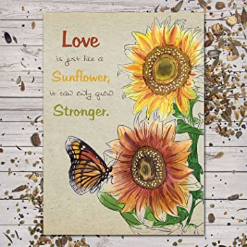 """Amazon.com : Set of 25 Sunflower Seed Packet Favors (F05) """"Love Is Just Like A Sunflower"""" : Garden & Outdoor"""