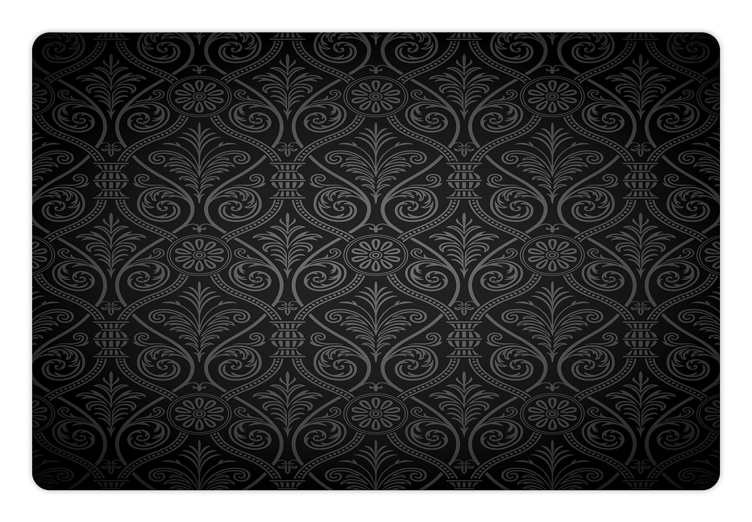Lunarable Damask Pet Mats for Food and Water by, Antique Baroque Pattern with Mild Ombre Shade Gothic Victorian Venetian Style, Rectangle Non-Slip Rubber Mat for Dogs and Cats, Charcoal Grey