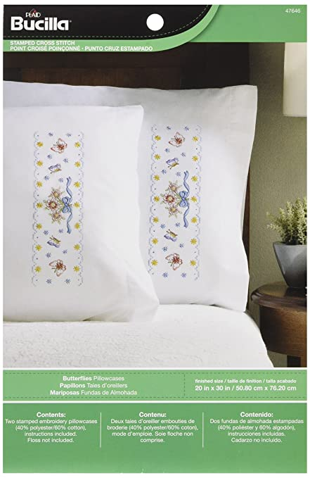 Bucilla Stamped Cross Stitch Pillow Cases (30 x 20-Inch), 47646 Butterflies