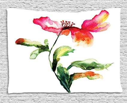 Ambesonne Watercolor Flower Decor Tapestry Shaded Single Poppy Flowering Plant Muse In The Nature Earth