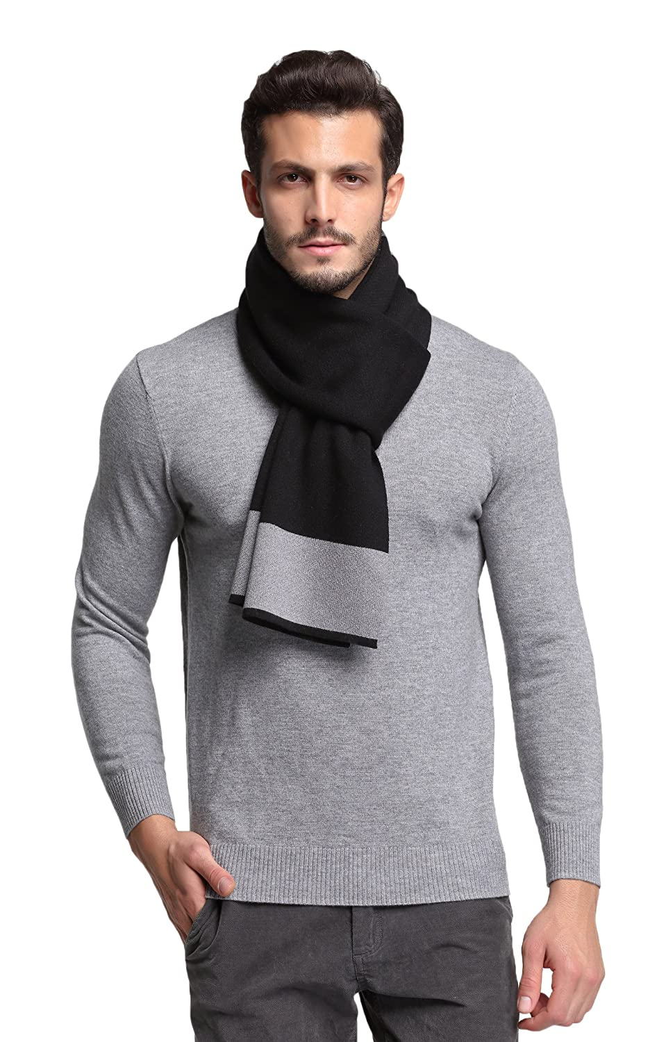 RIONA Men's Winter Warm Australian Wool Cashmere Soft Knitted Gentleman Scarf (Black) RIW8134Black