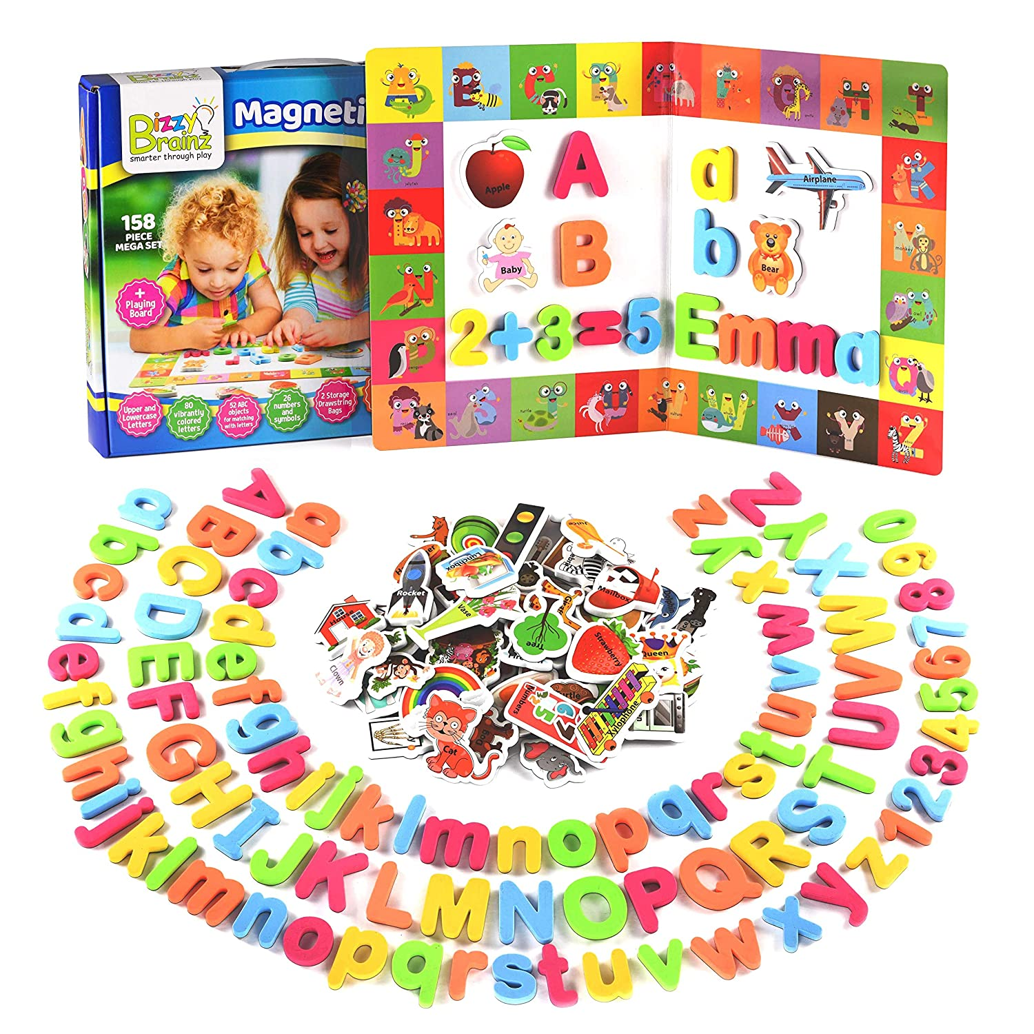 BizzyBrainz Magnetic Letters Mega Set - 158-Pieces ABC Magnets, Numbers and Objects for Kids   Educational Foam ABC Learning Toy Game with Nifty Play Board + Activity eBooks