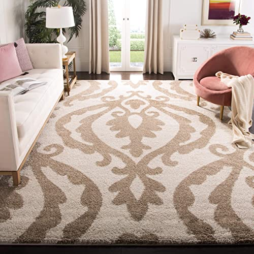Safavieh Florida Shag Collection SG469-1113 Cream and Beige Area Rug 8 6 x 12