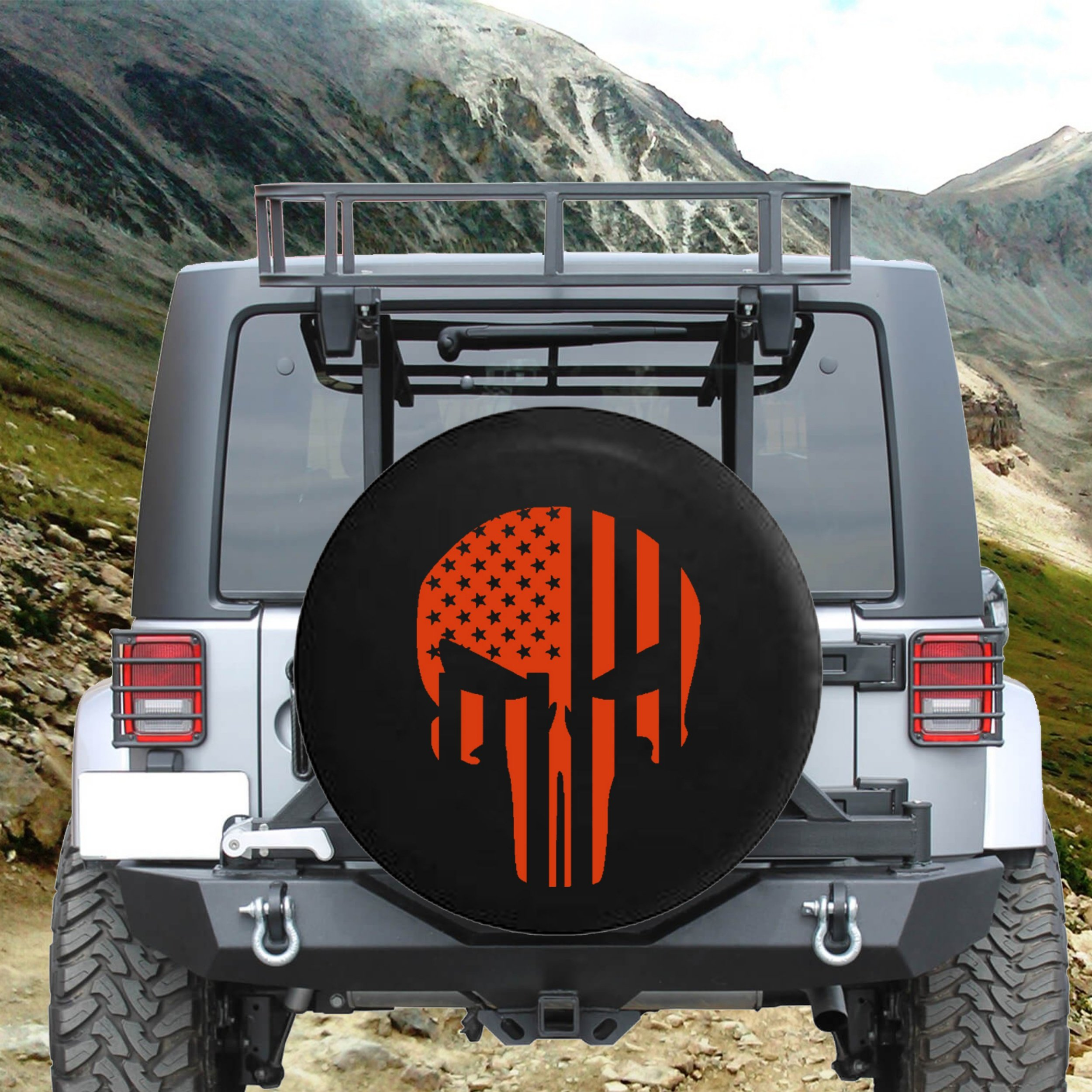 American Flag Tactical Stars & Stripes Punisher Skull Spare Jeep Wrangler Camper SUV Tire Cover Orange Ink 33 in by Steelcut (Image #2)
