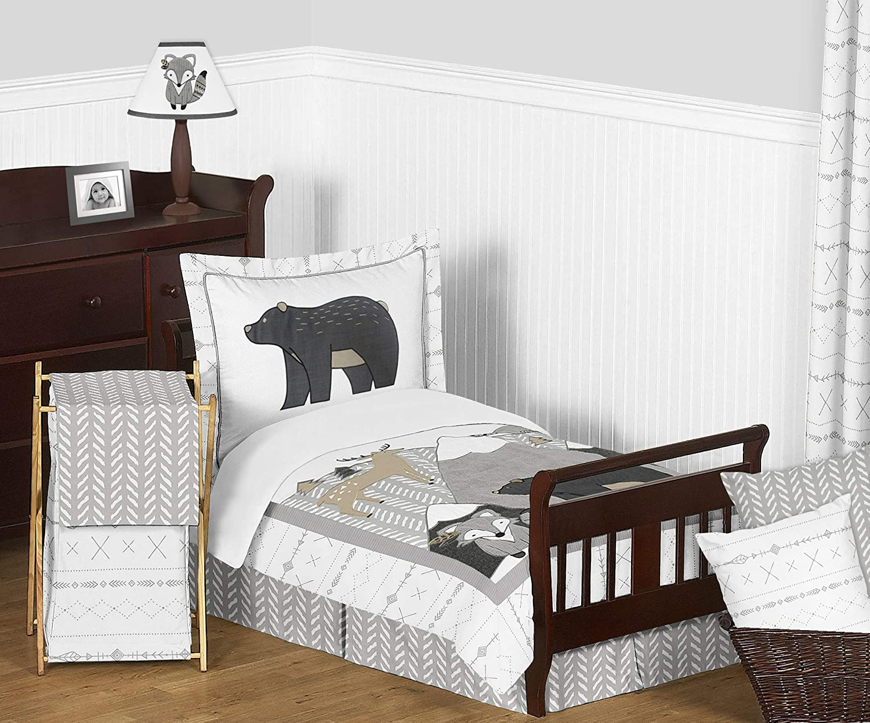 Sweet Jojo Designs Beige Grey White Boho Mountain Animal Gray Woodland Forest Friends Unisex Boy Girl Toddler Kid Childrens Comforter Bedding Set - 5 Pieces Comforter, Sham and Sheets - Deer Fox Bear