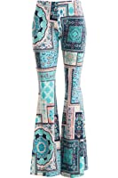 Fashionomics Womens BOHO COMFY STRETCHY BELL BOTTOM FLARE PANTS