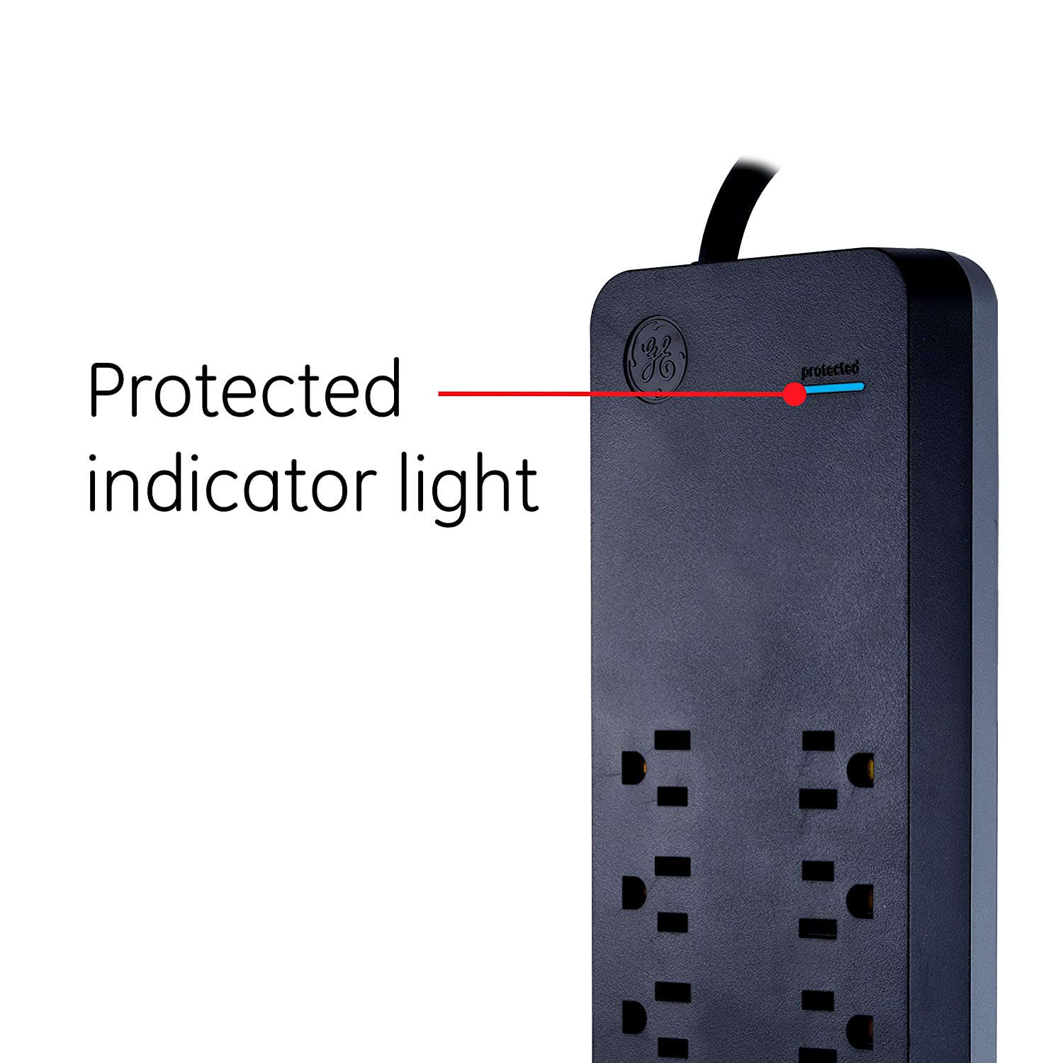 Long Cord GE Power Strip Surge Protector USB Charger Black 2 USB Ports 3ft Fast Charge 37053 Jasco Flat Plug 4 Outlets