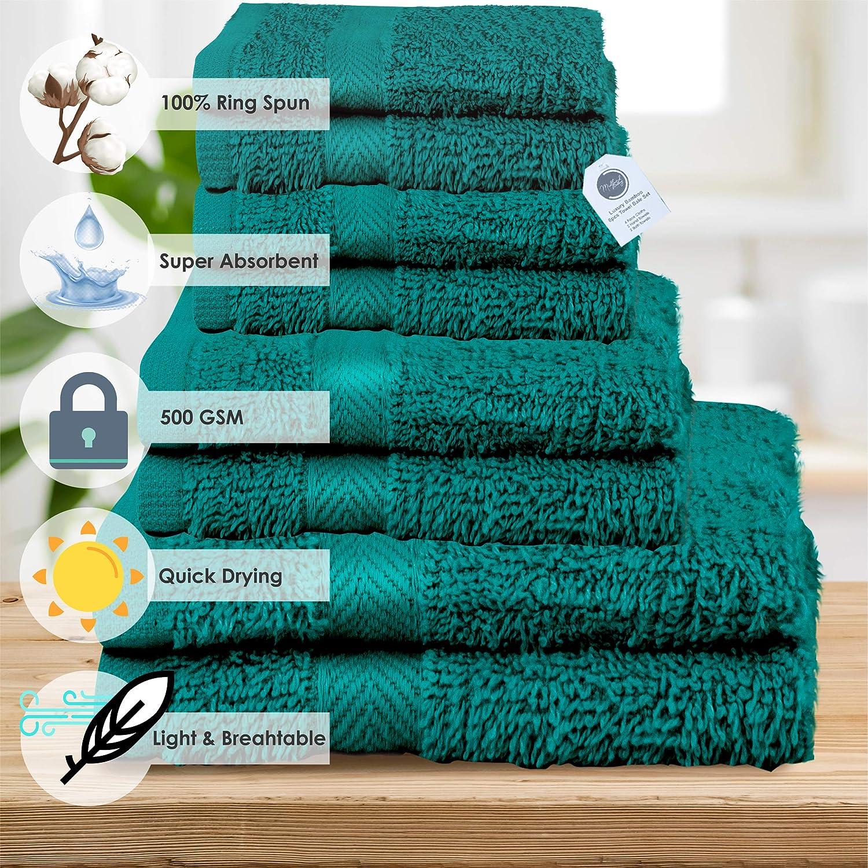 colori assortiti in 400 g//m/² colore nero Midland Bedding Set di 8 asciugamani in cotone