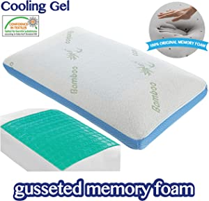COMFYT Cooling Pillow - Memory Foam Pillow - Sleeping Pillow Bed Pillow Bamboo Pillow Gusseted Pillow - Gel Layer Provides Extra Coolness