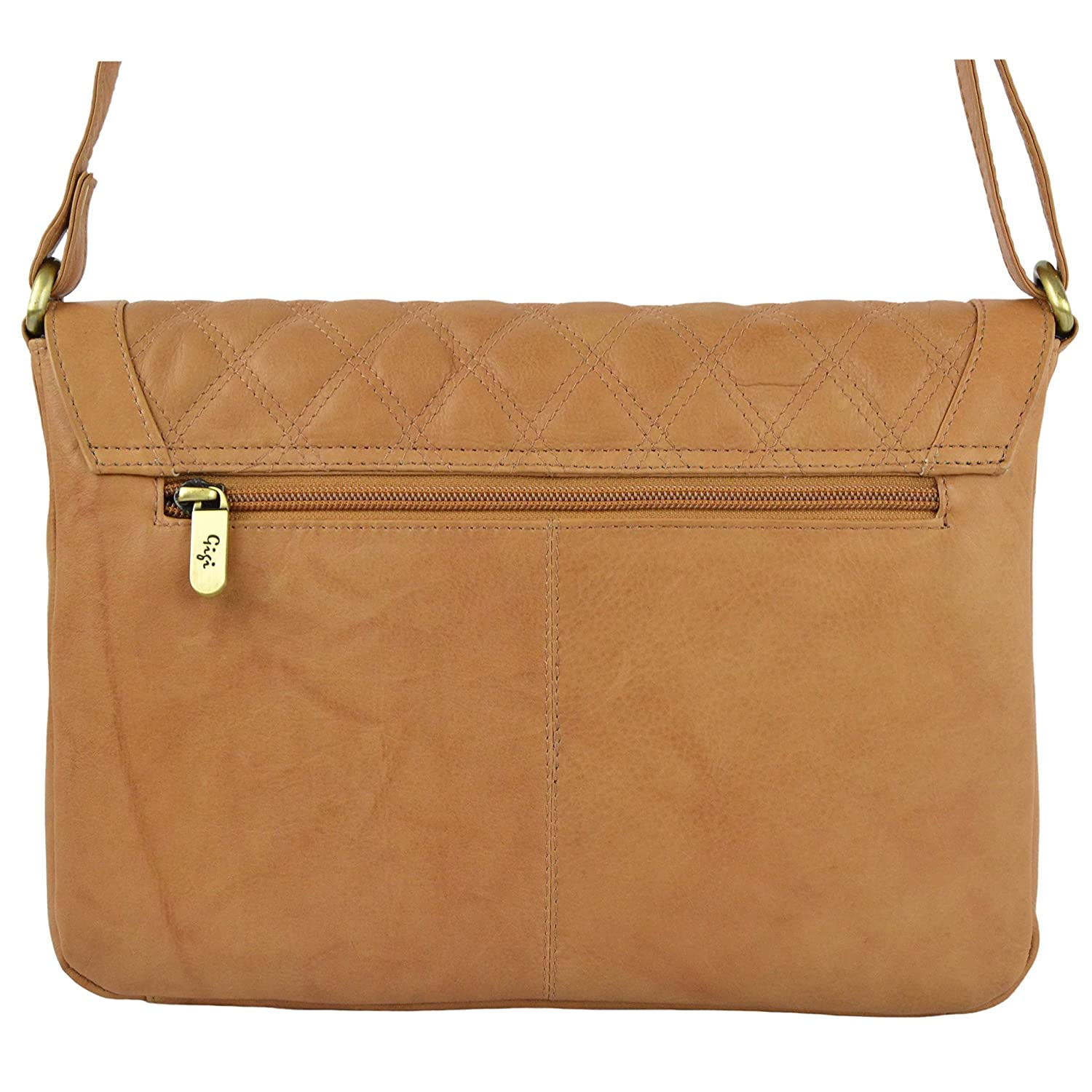 NEW Ladies Quilted LEATHER Cross Body HANDBAG by GiGi OTHELLO Collection Classic