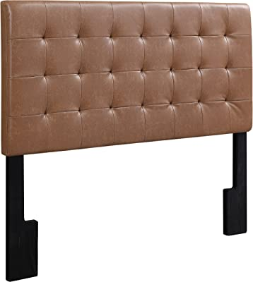 """Pulaski  Faux Leather Biscuit Tuft Upholstered Headboard, King, 81.25"""" x 4.0"""" x 58.0"""", Cognac Brown"""