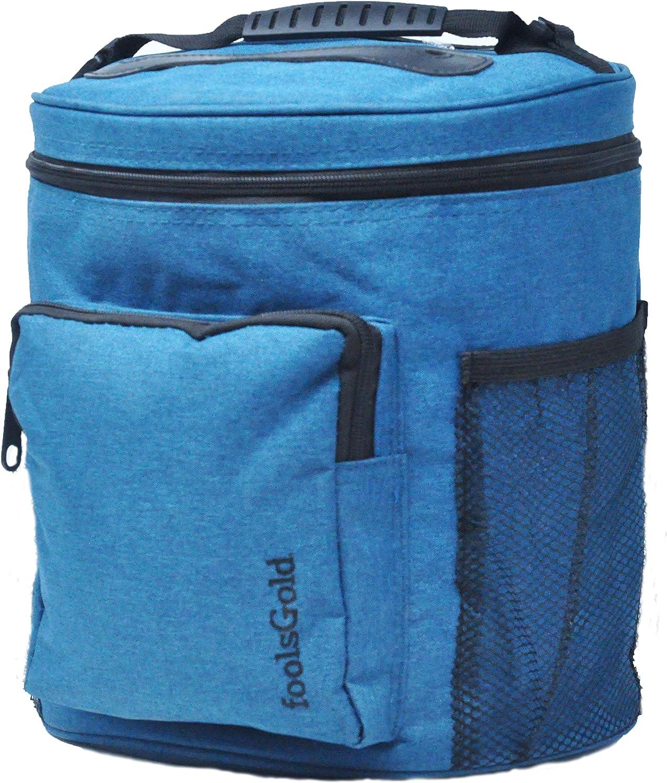 Teal FoolsGold Pro leicht tragen Dual Slot stricken tasche f/ür Wolle und Garne mit 2 Veranstalter Abschnitte und Rei/ßverschluss Tasche