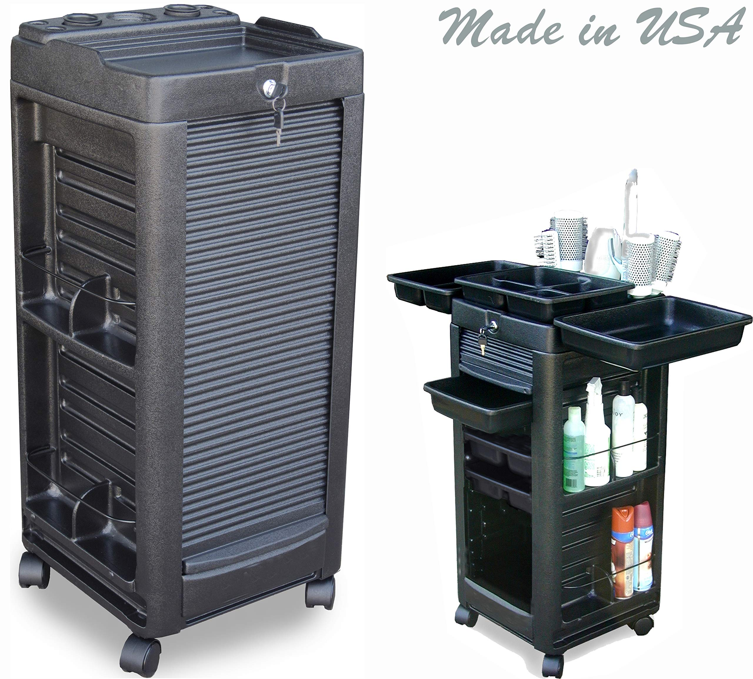 D1-L Prime Salon Rollabout Cart Trolley w/Locking Door, Appliance Tool Holder & 6 Trays Made in USA by Dina Meri by Dina Meri