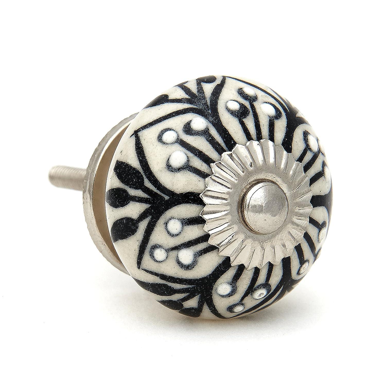 Black Flower Design Drawer Pull, Cabinet Pull, Drawer Knob - Pack of 12
