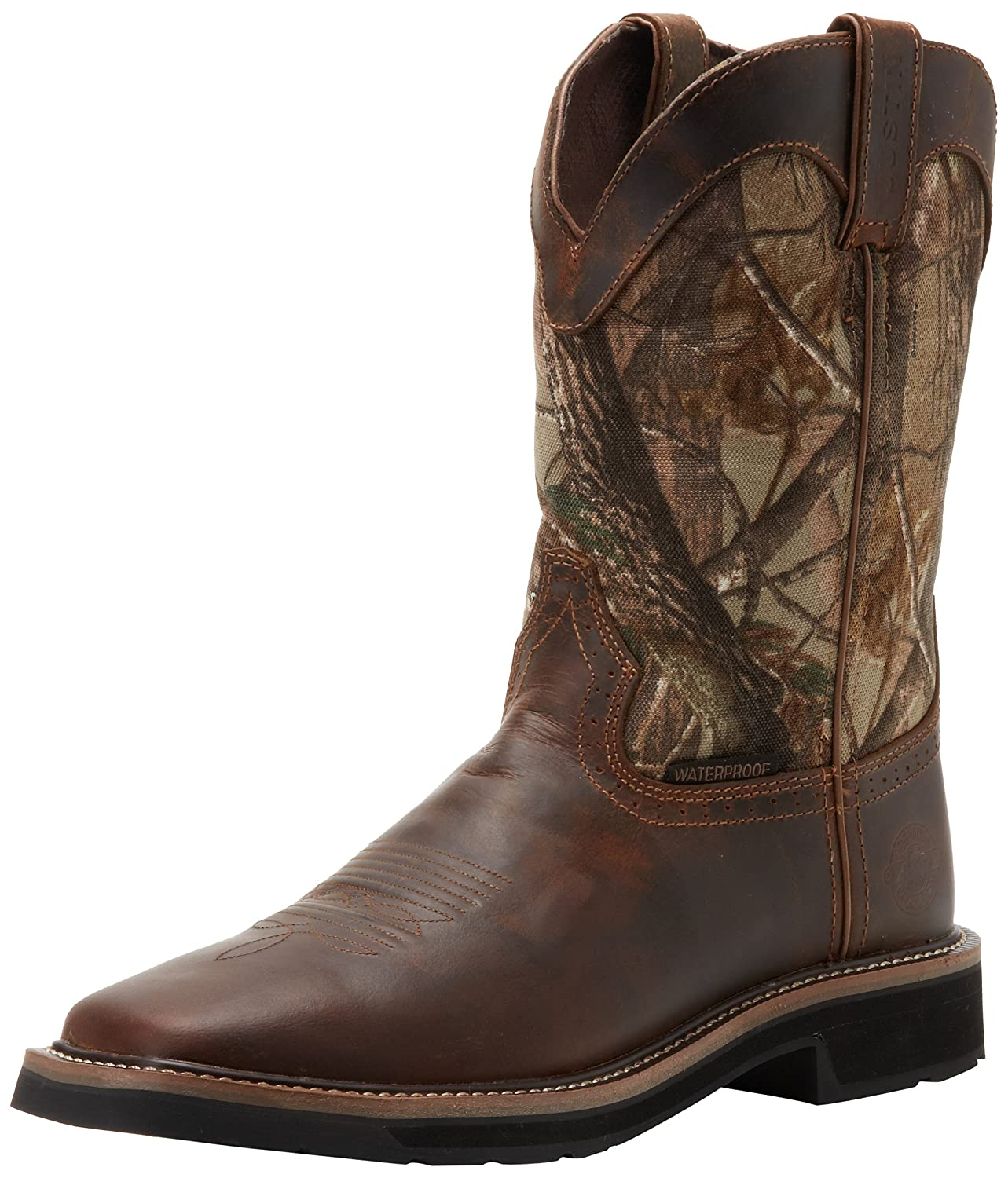 Amazon.com | Justin Original Work Boots Men's Stampede Camo ...