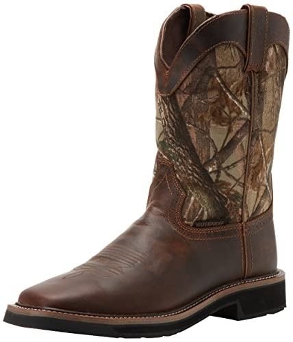 Justin Original Work Boots Men's Stampede Camo WaterProof Work Boot Rugged Tan/Real Tree