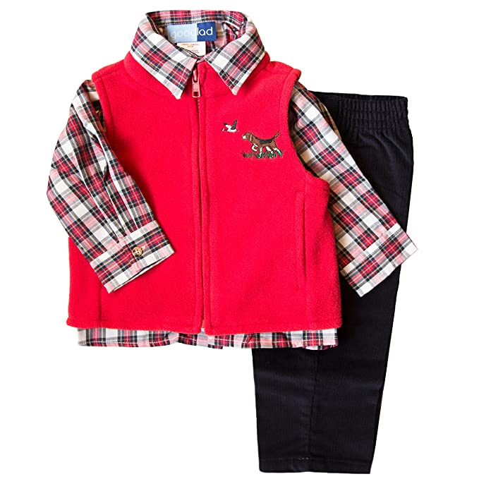 53bef62b167a Amazon.com  Good Lad Infant Boys Three Piece Fleece Vest Set  Clothing