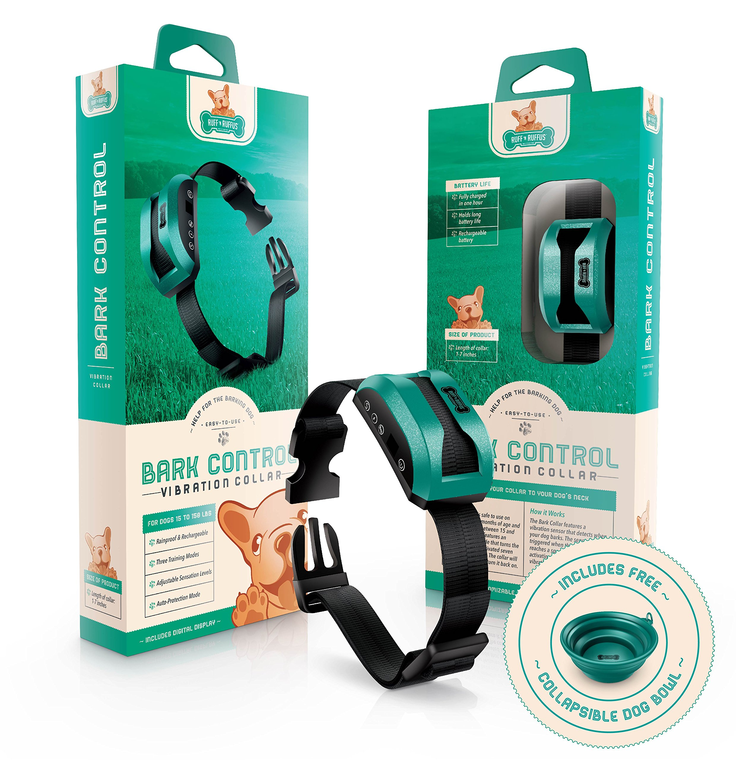 Rechargeable Dog Bark Control Collar with Smart Detection Chip + FREE BONUS Travel Bowl | Waterproof | Beep/ Vibration & Shock Dual Mode | Safe Anti-Barking Training for Small and Large Dogs