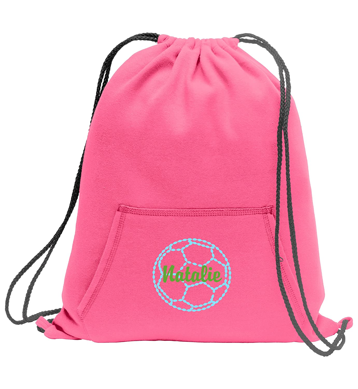Personalizedサッカー – スウェットシャツCinch Bag with Front Pocket B01LXABIINネオンピンク