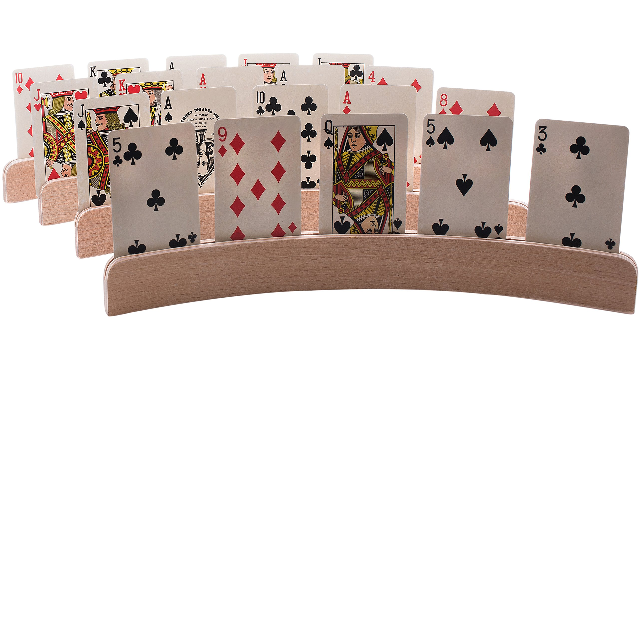 GrowUpSmart Set of 4 Wooden Playing Card Holders In Curved Design - 14'' Size For Kids, Adults and Seniors alike