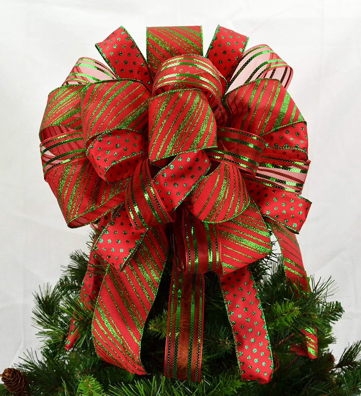 Christmas Tree Bow Topper | Present Bow | Tree Bow | Red Emerald Green