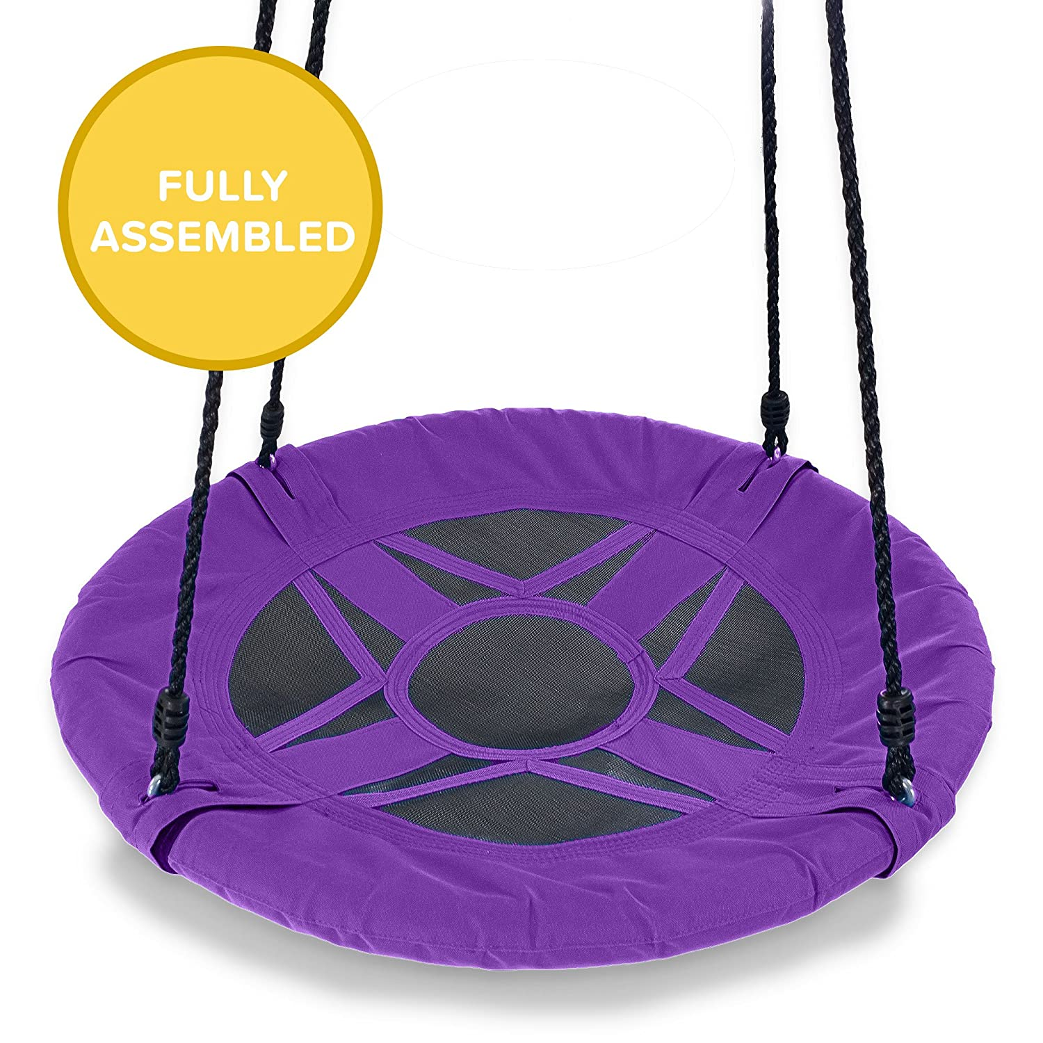Play Platoon Flying Saucer Tree Swing - 400 lb Weight Capacity, Fully Assembled, Easy to Install Easy to Install (Dark Blue)