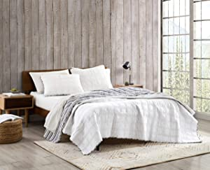Eddie Bauer Home   Lake Crescent Collection   Quilt Set - 100% Cotton, Reversible, All Season Bedding with Matching Sham, Pre-Washed for Added Comfort, Twin, Grey