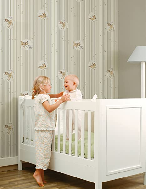 Disney Bambi Stripe Girls Boys Nursery Playroom Wallpaper Cream Brown Amazon Co Uk Kitchen Home