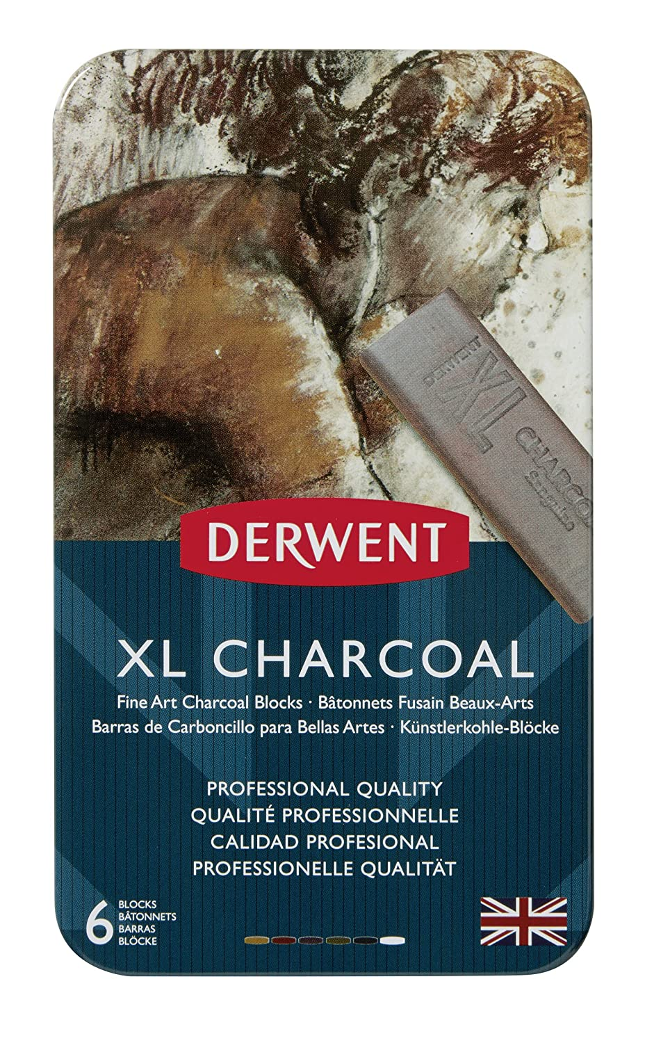 Derwent XL Tinted Charcoal Drawing Blocks, Set of 6, Professional Quality, 2302009, Multicolor Acco