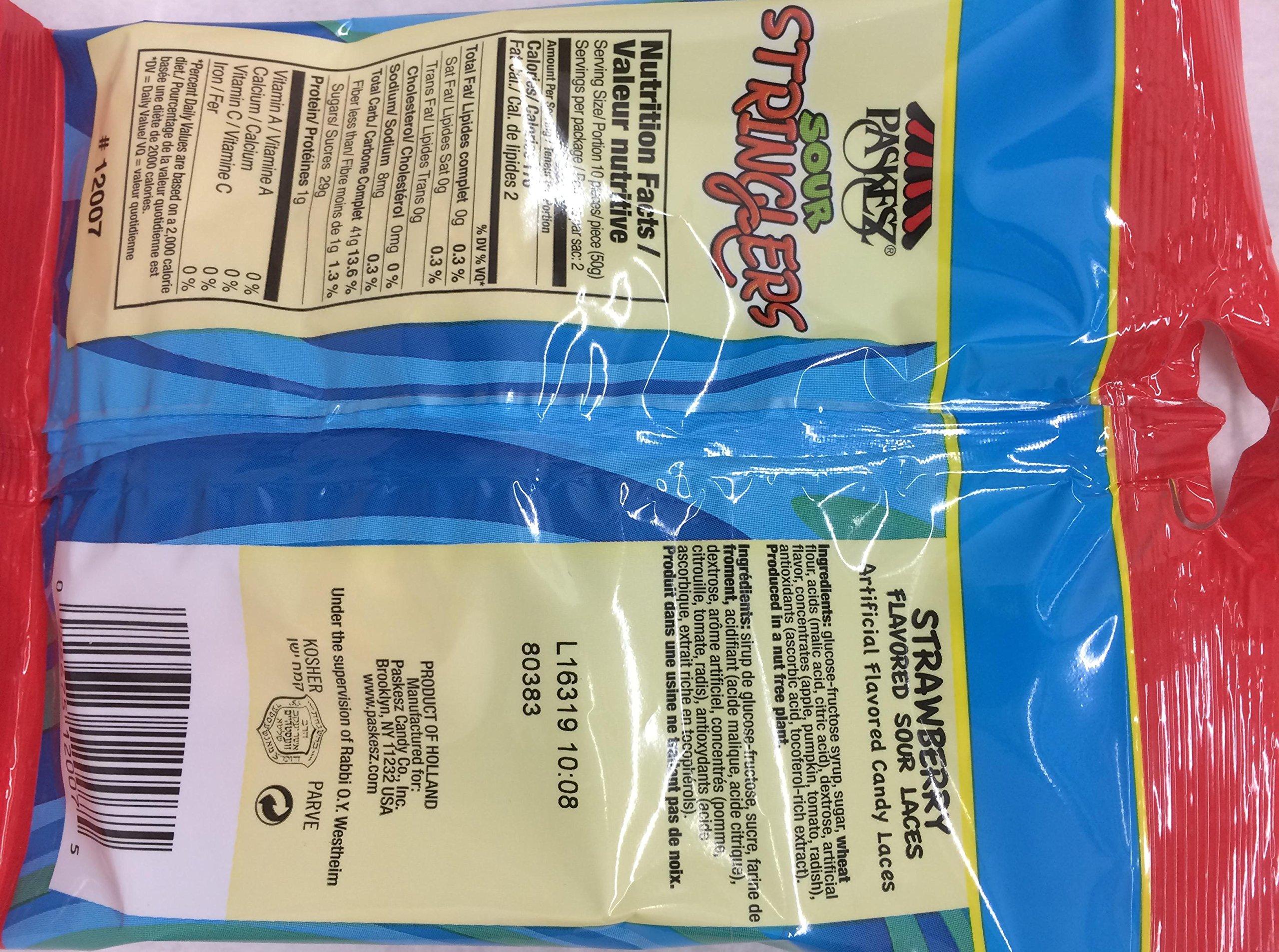Paskesz Sour Stringers No Artificial Colors 3.5 Oz. Pack Of 3.