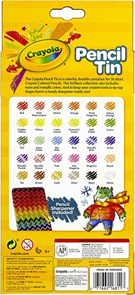 Metallic and Neon Included 30 Short Colored Pencils Crayola Collectible Pencil Tin Set
