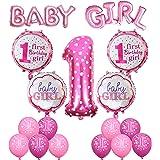 1st Decorazione di compleanno, Cocodeko Blu Palloncino Gigante Numero 1 + Bandiera Blu di Palloncino di Baby Girl + 4 Pezzi tondo Buon compleanno Girl Palloncini + 10 Pezzi Latex Stampati Palloncini
