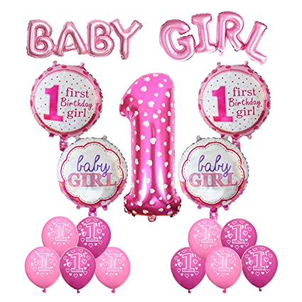 Cocodeko 1st Birthday Decoration Inflatable Helium Foil Balloons Baby Girls Party Air
